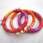 Ribbon yarn and pearls bangle brace..