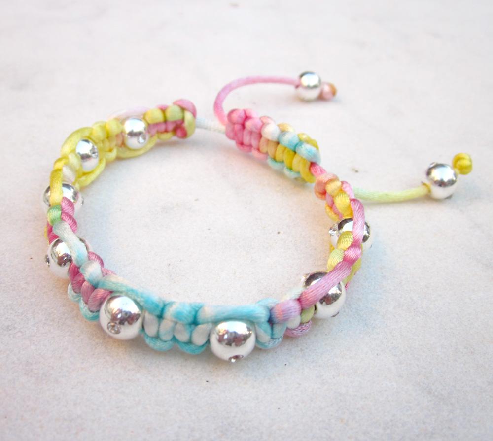 Rainbow friendship bracelet with silver beads macrame