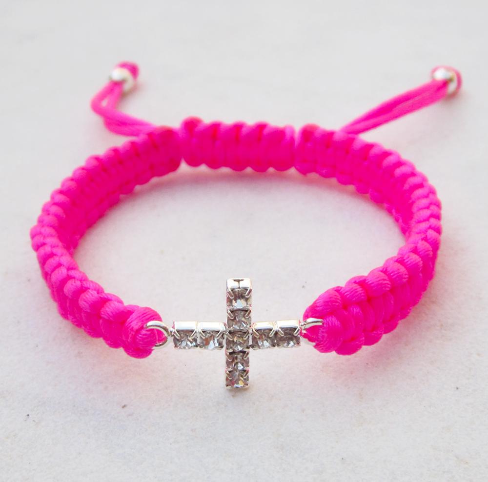 Friendship bracelet cross bracelet neon pink stack jewelry
