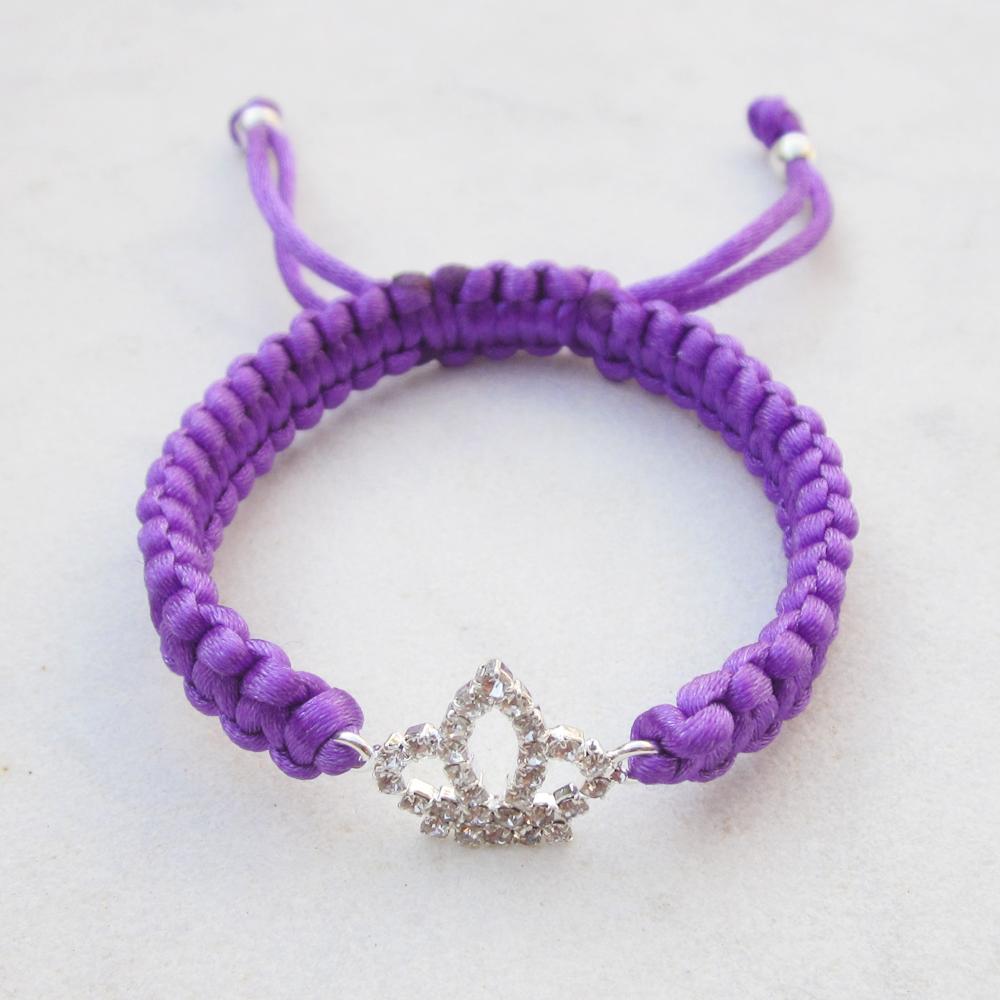 Crown bracelet purple friendship bracelet rhinestone stack jewelry