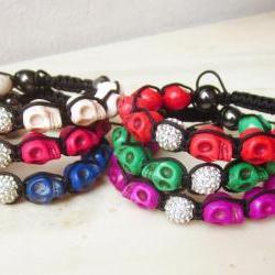 Howlite skulls bracelet friendship bracelet macrame colorful bracelet crystal disco ball bracelet stackable MADE TO ORDER customizable