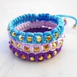 Bracelet gold beads friendship bracelet macrame bracelet stackable bracelet adjustable -PICK YOUR COLOR