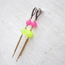 Earrings neon jade drop earrings raw brass chain dangle earrings stone earrings neon earrings leverback earrings