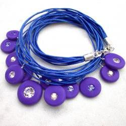 Deep blue swarovski charms statement necklace with polymer clay and sterling silver