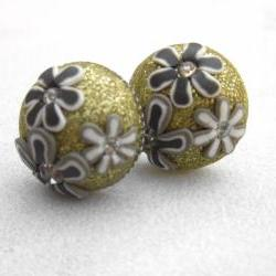 Glitter flowers and rhinstones polymer clay post earrings